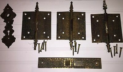 Antique Victorian Brass Door Hardware Eastlake Hinges Set