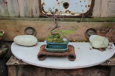 Antique/early Vintage Japanese Bamboo Bonsai Tree/ Artwork Stand-Lovely Patina