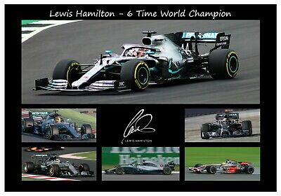 Signed Lewis Hamilton 2019 F1 6 Time World Champion Autographed Photo