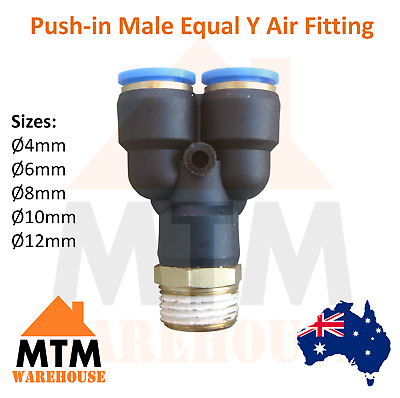 Push in Air Fitting Equal Y with Male Thread 4mm to 12mm Diameter Pneumatic PT