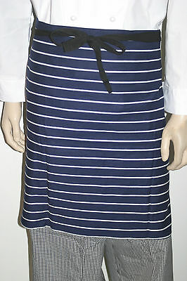12 x chefs / Butchers Apron Male / Female 100 % Cotton Navy Blue / White stripe