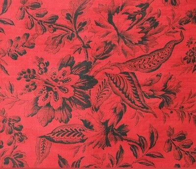 Antique French 19thC Toile Fabric Panel Soft Cotton Twill Red Black Floral Print
