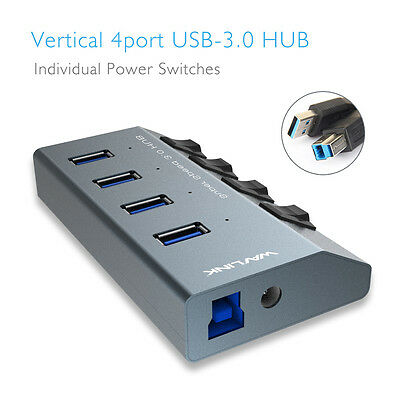 Wavlink 4-Port USB 3.0 Hub with Individual Power Switches US/EU Plug,Aluminum