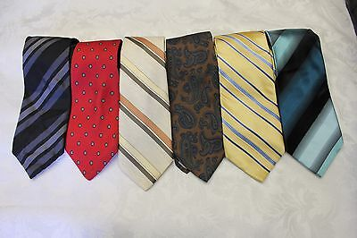 "Lot Of 6 Ties Different Name Standard Width 3-1/2"" & Classic Length 57""-60"""