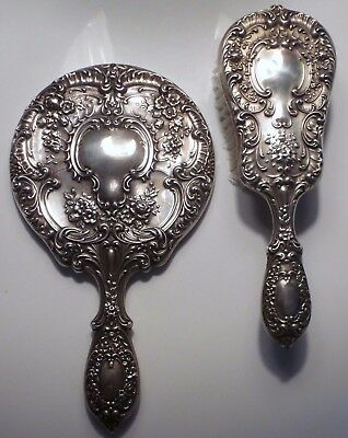 Gorham Buttercup Sterling Silver Mirror and Brush Set