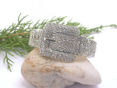 Horse & Western Jewellery Jewelry Ladies  Western Buckle Bangle Silver Crystals