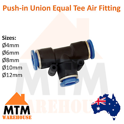 Push in Air Fitting Equal Union Tee T Pneumatic Systems Compressor PU PE Tube