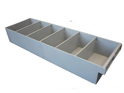 6 X Plastic Spare Parts Tray 600L x 200W x 100H Compartment Divider Storage Bin