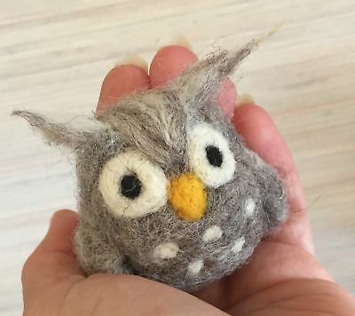 WOOL NEEDLE FELTING FELTED OWL COLLECTION 7 ROLLS NEW GREY YELLOW WHITE BLACK