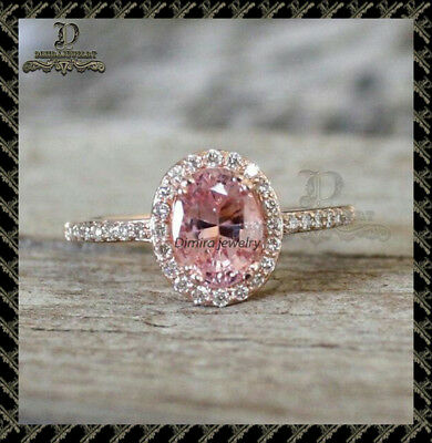 2Ct Oval-Cut Pink Diamond Halo Engagement Ring 10K Rose Gold