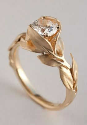 2.50ct Round-Cut Diamond Solitaire Leaf Engagement Ring Real 10K Yellow Gold