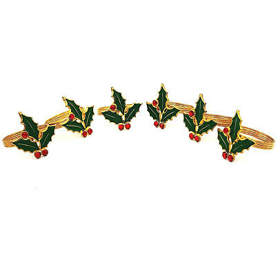 Red Holly Berries Green Enamel Leaves Gold Tone Metal Xmas Napkin Rings Set Of 6