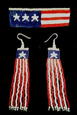Handmade Beaded Patriotic American Flag Barrette and Earrings