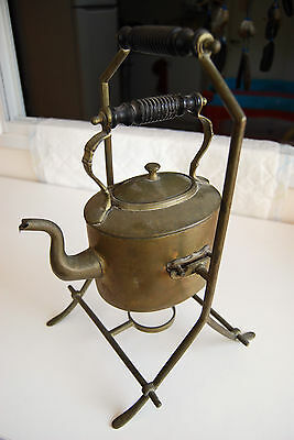 ANTIQUE 1800'S BRASS TEA KETTLE  POT w/STAND SWS&B WONDERFUL CONDITION OLD RARE