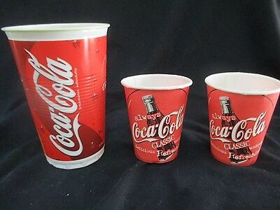COCA COLA: 3 x vintage  wax paper & plastic drinking cups, 90's  and  on.