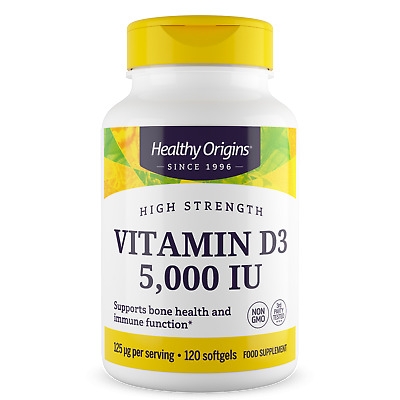 Healthy Origins Vitamin D3, 5000IU x 120 SoftGels D-3 5000 IU