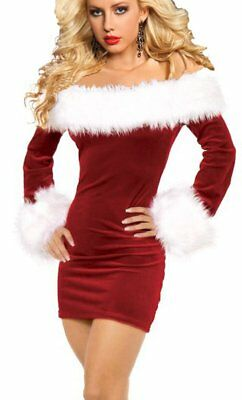 Iyiss Women'S Sexy Off Shoulder Christmas Santa Costume (L, Red)