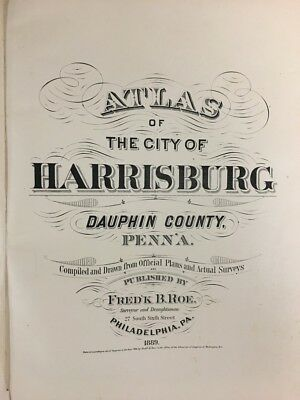 Orig 1889 Frederick B. Roe Harrisburg, Dauphin County, Pa Title Page, Atlas Map