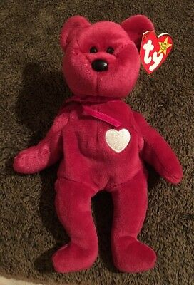 Ty Beanie Babies 1999 Valentina Pink Teddy Bear White Heart  Tag Excellent