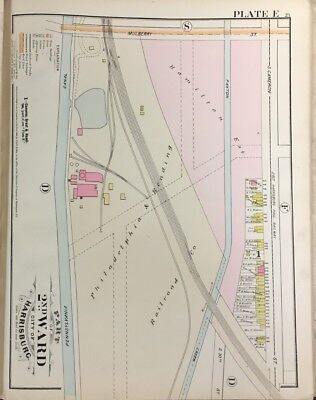 Orig 1889 Harrisburg, Dauphin County, Pennsylvania Canal Paxton Creek, Atlas Map