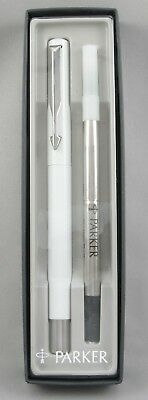 Parker Vector White & Chrome Rollerball Pen In Box - New-Old-Stock - 1996 - USA