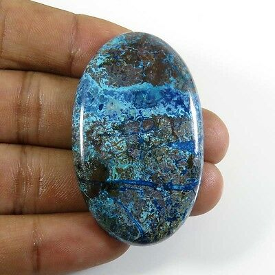 TOP GRADE~ 70.55Cts. NATURAL GREEN AZURITE CABOCHON OVAL GEMSTONE 47x29mm. AZ-60