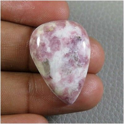 23.45Cts. SUPERB~NATURAL LEPIDOLITE GEMSTONE CABOCHON 26x19 MM. PEAR LOOSE LD-97