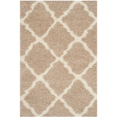 Safavieh Dallas Shag Collection 8 x 10 Foot Indoor Carpet Area Rug, Beige/Ivory
