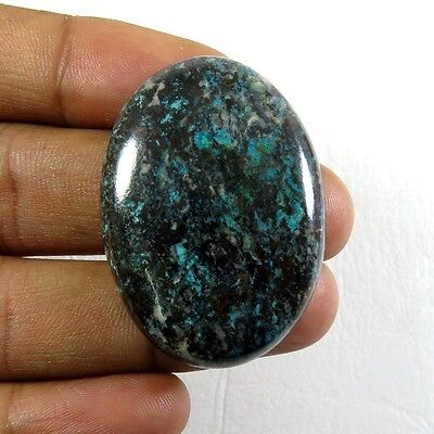 DESIGNER~ 58.55Cts. NATURAL GREEN AZURITE CABOCHON OVAL GEMSTONE 38x27 mm. AZ-11