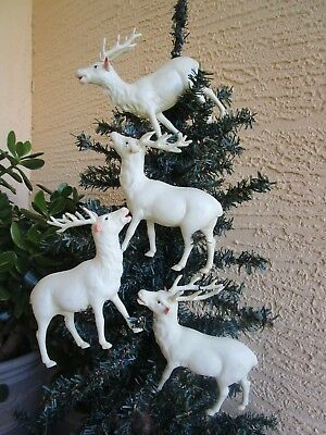 "Vintage 4 Large Celluloid Reindeer Christmas Decor/ornament 5"" Tall"