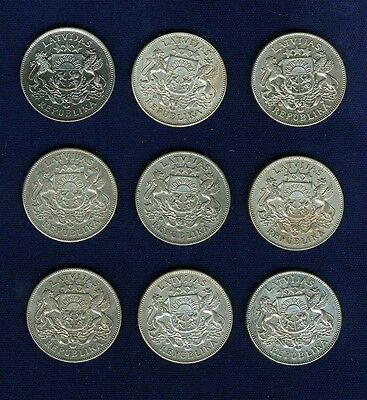 LATVIA 1925 & 1926, 2 LATI SILVER COINS, LOT OF (9), XF to  ALMOST UNCIRCULATED