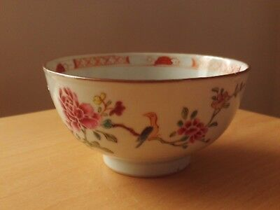 Vintage Chinese Hand Painted Floral And Bird Soup/rice Bowl