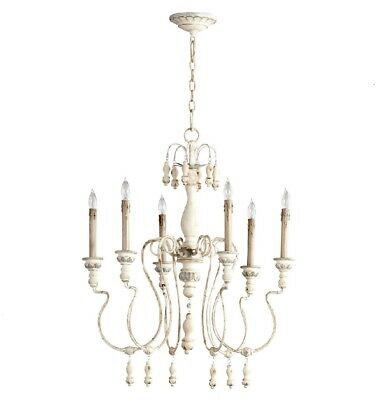 French Country Antique White Chantal Chandelier 6 Light Wood & Iron Cottage Chic