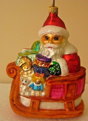 Collectible Christopher Radko Santa in Sleigh Christmas/Holiday Tree Ornament