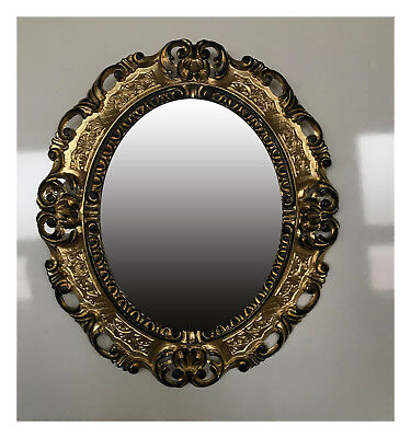 Wall Mirror Gold Black Oval 45x38 Baroque Antique Repro Vintage Retro