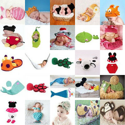Fashion Crochet Knitting Outfits Costume Set Photography Photo For Unisex Baby