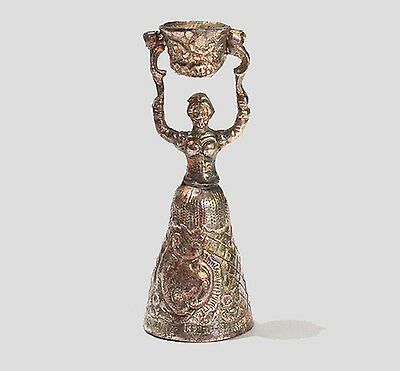 """Beautiful silver bell """"Girl with a bucket"""" Solid silver 800. Germany."""