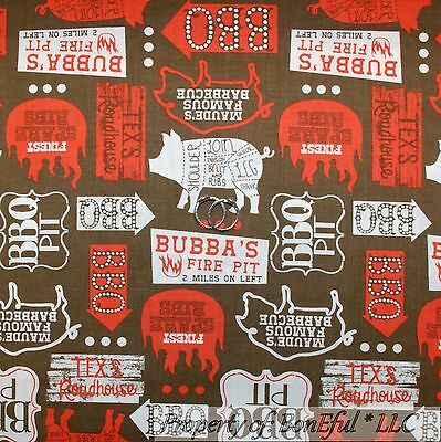 BONEFUL FABRIC FQ Cotton Quilt Brown Red White Farm PIG Meat BBQ Word  Country US