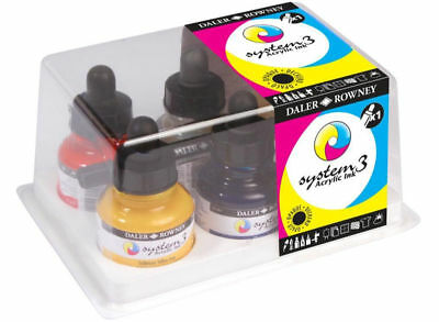 Daler-Rowney System 3 Acrylic Ink Introduction Set Of 6 + Free Empty Marker!