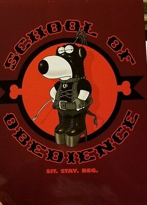 "FAMILY GUY TIN SIGN BRIAN BONDAGE ""SCHOOL OF OBEDIENCE"" METAL MINT 8.5"" x 12"""