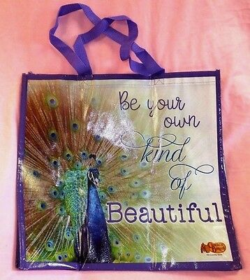 """Peacock Tote Bag """"Be Your Own Kind of Beautiful"""" BIG Shopping BRAND NEW"""