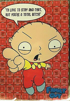 "FAMILY GUY TIN SIGN STEWIE ""TOTAL BITCH"" METAL MINT 8.5"" x 12"" KALAN"