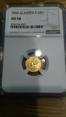 1856 $1 Gold Coin Slanted-5 Type 2 Indian Princess Head Ngc Au 58