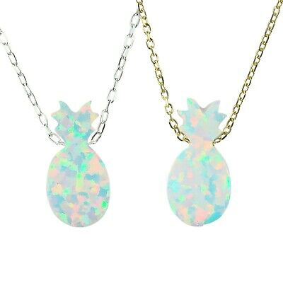 Opal Pineapple Necklace White Pendant Sterling Silver Tropical Fruit Jewelry