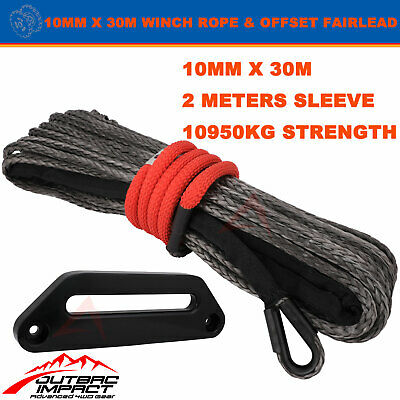 BLK Offset Fairlead 10MM x 30M Winch Rope Dyneema SK75 strap 4WD Recovery Cable