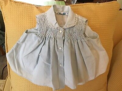 EVC NB Girl's Smocked Blue Diapershirt by Baby Togs, BIN