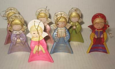 Vintage Painted Ceramic Child Angel Christmas Ornaments Curved Bottom Lot of 7