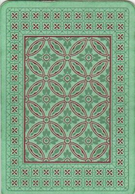 *Vintage Swap/Playing Card- 1 SINGLE OLD WIDE - GREEN DESIGN