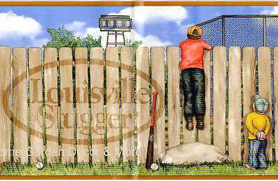 LOUISVILLE SLUGGER Baseball Bat Wooden Fence Boys Self Adhesive Wallpaper Border