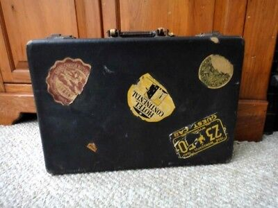 antique LEATHER WOOD TRAVEL SUITCASE-GRAND CANYON,HOTEL etc.LABELS primitive